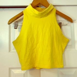 American Apparel Yellow Turtle Neck Crop Top Small